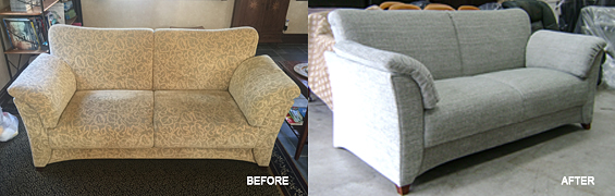 before and after shots of a sofa reupholstered by auckland upholsterers Wilson and Nicholson