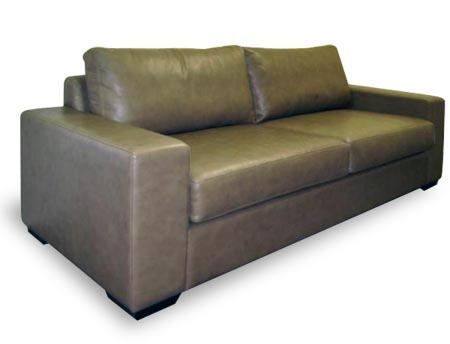Columbia Couch wide arms with dark leather upholstery
