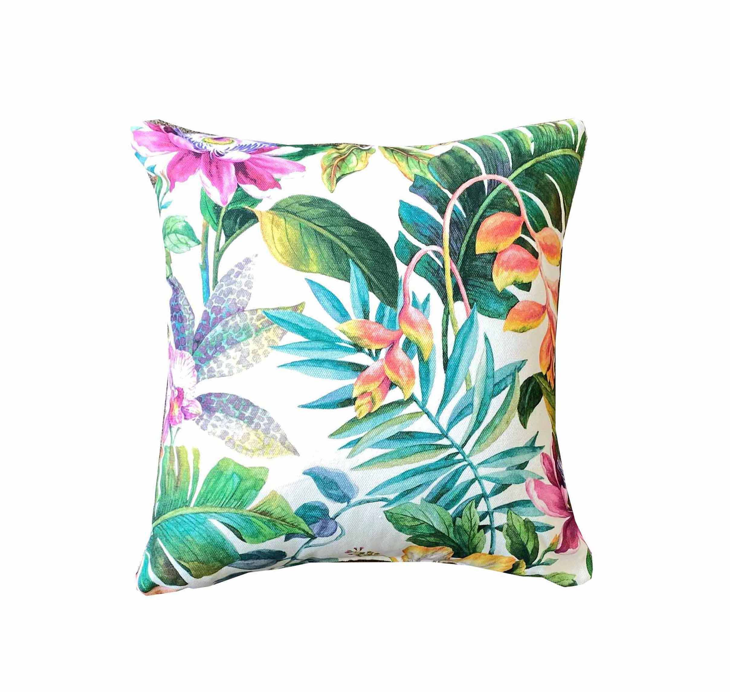 Cushion in Tropical pattern fabric from unique fabrics