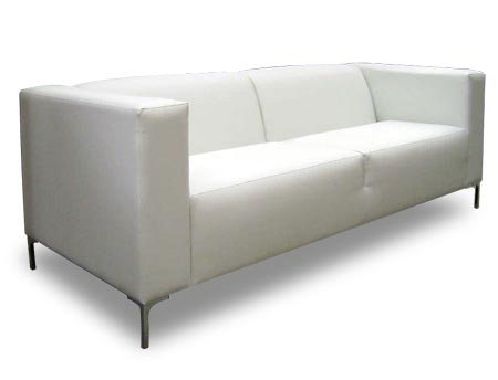 Large white leather couch with high square arms and thin metal legs. Arms and back are the same height.