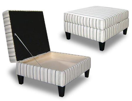 Lift up footstool with legs. Great for storing newspapers and magazines.