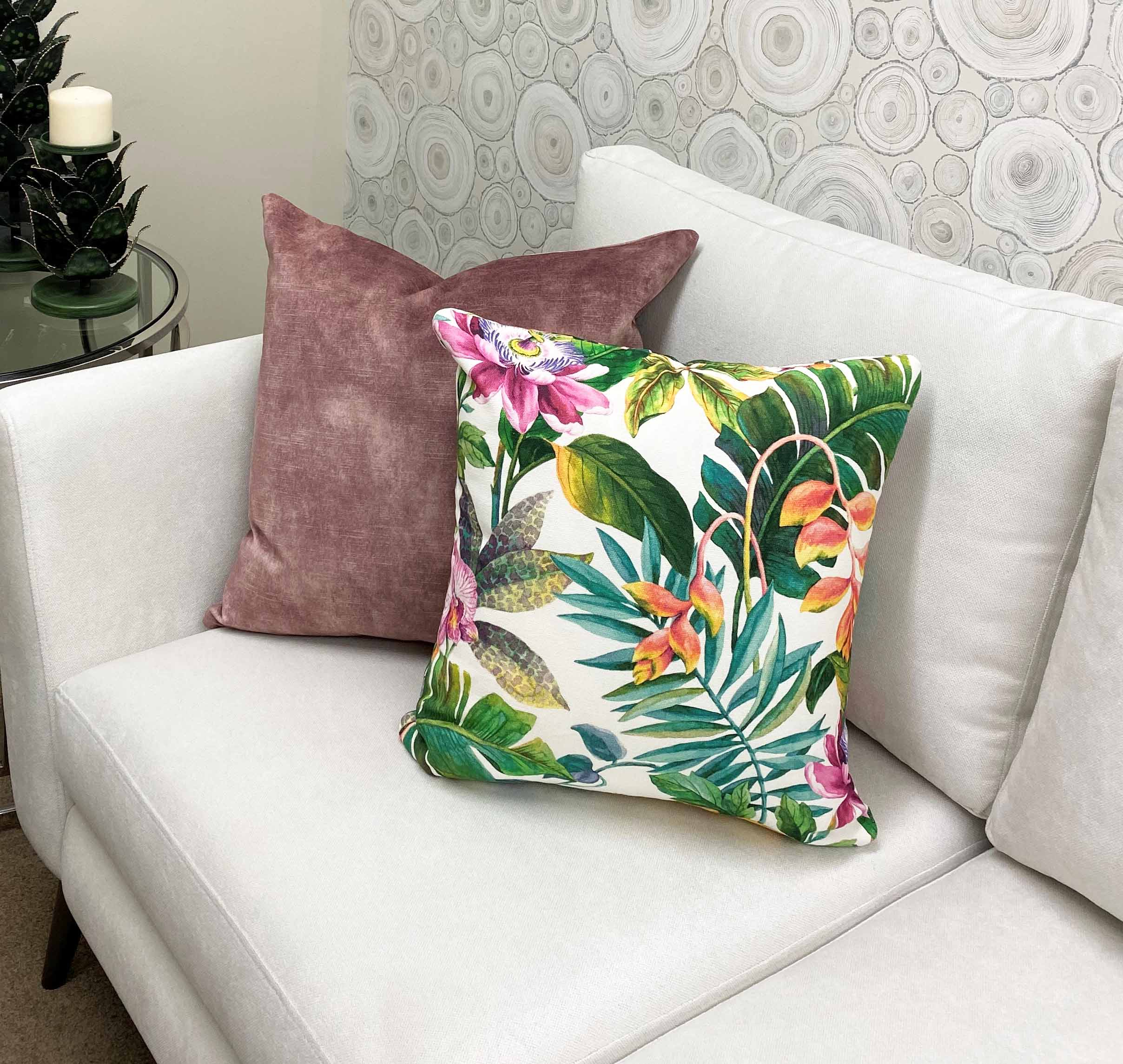 Colorful Tropical fabric cushion