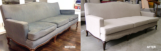 Couch shown prior to being reupholstered and after the Auckland based Upholstery company Wilson and Nicholson have finished upholstering it.