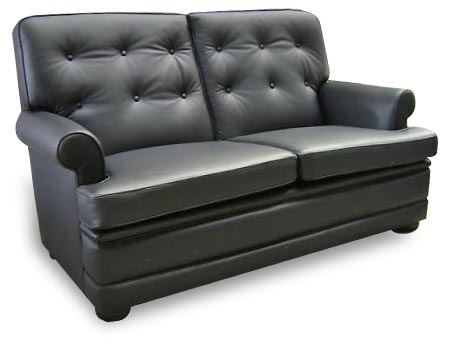 Richmond Settee has round arms and a high back.