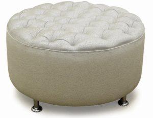 round upholstered ottoman deep button.