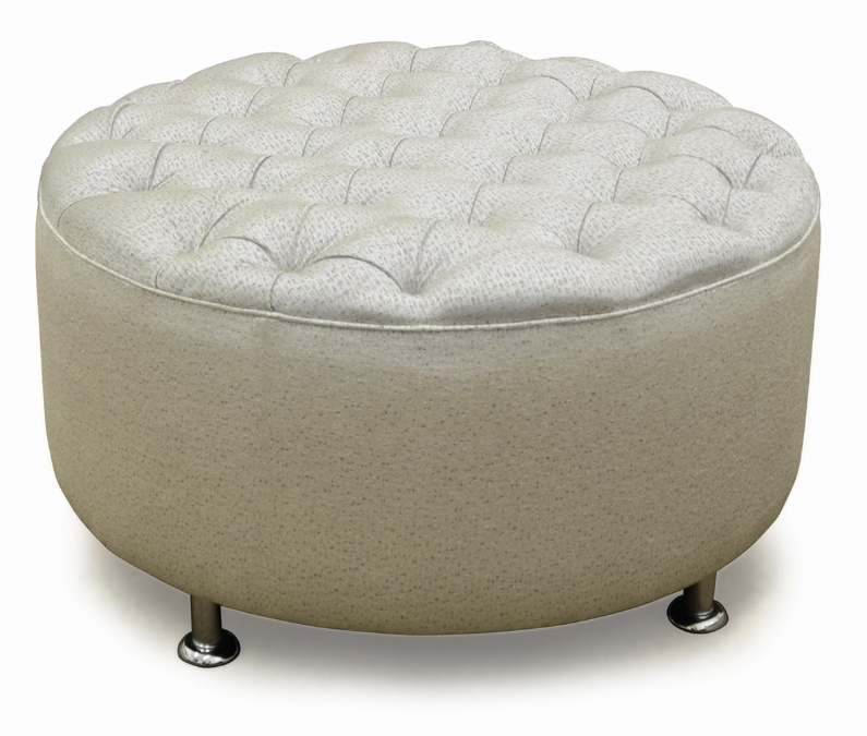Round Ottoman With Deep Diamond Buttoned Top Wilson