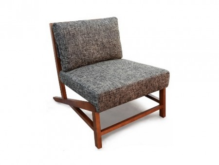 lounge chair with flecked grey fabric upholstery and walnut wood legs.