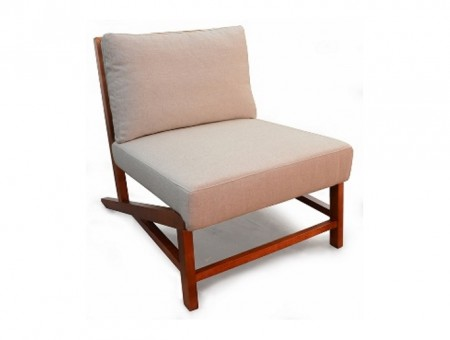 lounge chair made of walnut timber with fabric upholstery