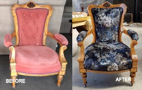 Before and after chair reupholstry