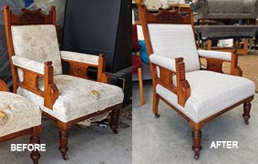 CHair before and after reupholstry