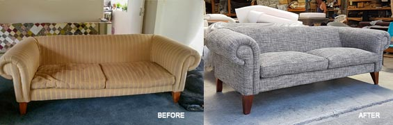 Before & After sofa reupholstry