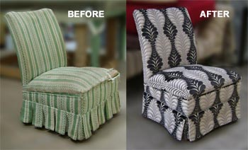 lounge chair before and after being refurbished by Auckland upholsterers Wilson and Nicholson